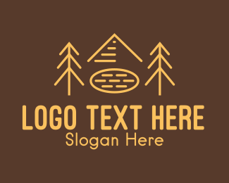Brown Circle - Forest Woodlands Tree Cabin logo design