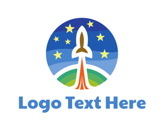 Sky - Rocket & Starry Sky logo design