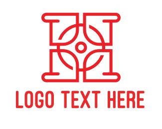 Ho - Red HO Outline logo design