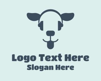 Listen - Blue Headset Dog logo design