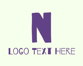Scrapbook - Handwritten Purple Letter N logo design