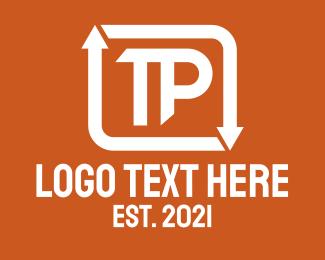 T - Arrow Loop Letter T & P logo design
