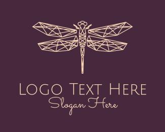Entomology - Geometric Dragonfly Monoline logo design