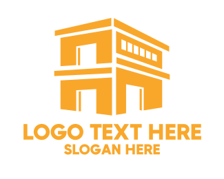 Warehouse - Gold Shop Building logo design