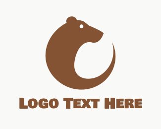 Brown Bear - Round Brown Bear Circle logo design