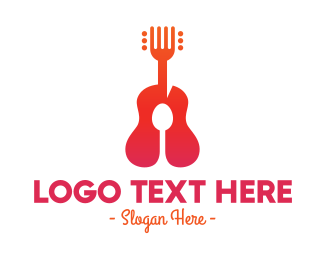 Music Cafe - Acoustic Guitar Music Restaurant Food logo design