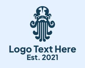 Squid - Octopus Seafood Kraken logo design