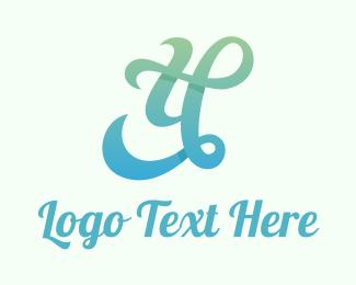 Typography - Gradient Cursive Letter Y logo design