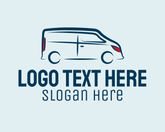 Van For Hire - Blue Van Bus logo design