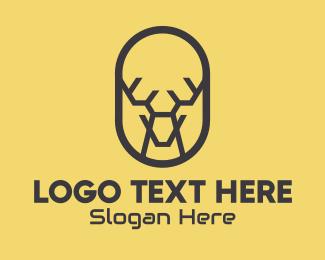Moose - Tech Polygon Reindeer logo design