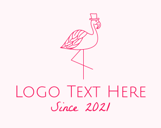 Wedding - Pink Flamingo Hat logo design