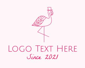 Hat - Pink Flamingo Hat logo design