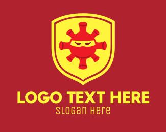 Defend - Angry Virus Shield logo design