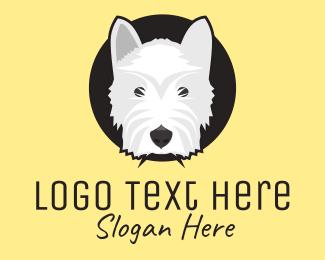 Terrier - White Grey Terrier Dog logo design