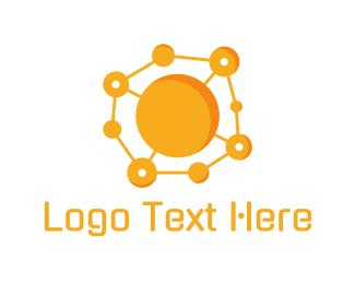 Gravity - Orange Molecule logo design