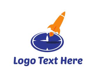 Clock - Rocket Clock logo design