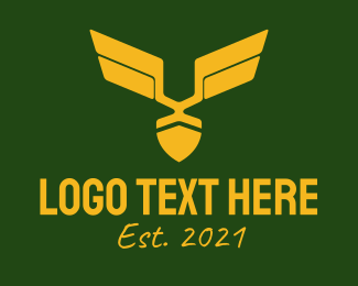Infantry - Golden Military Badge logo design