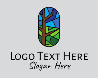 Church Window - Stained Glass Forest  logo design