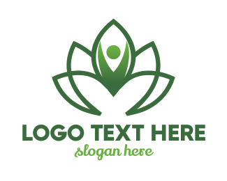 Massage Parlor - Green Flower Person logo design