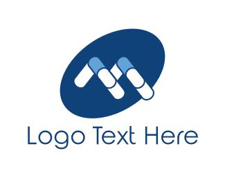 Medication - Blue Capsule logo design