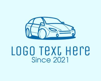 Sedan - Blue Sedan Car logo design