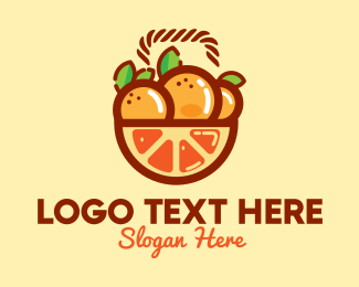 Harvesting - Orange Fruit Basket  logo design