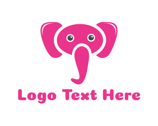 White And Pink - Pink Elephant logo design
