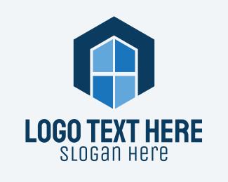 Window Glass - Hexagon Window Letter A logo design