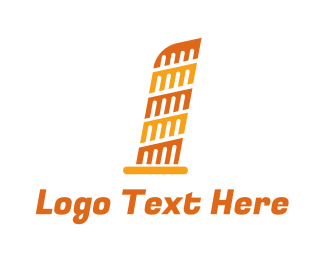 Attraction - Orange Leaning Tower of Pisa  logo design