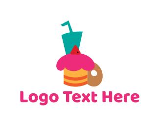Donut - Dessert & Drink logo design