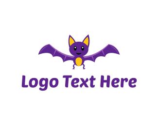 Bat - Purple Bat logo design