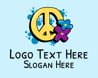 70s - Peace Sign Flowers  logo design