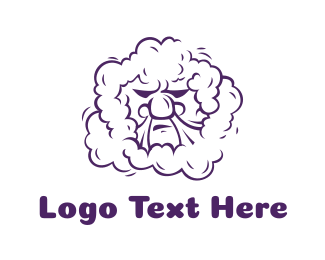 Smoking - Purple Smoking Angry Man logo design