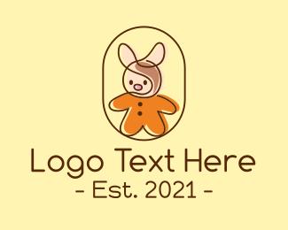 Kids Apparel - Monoline Baby Bunny logo design