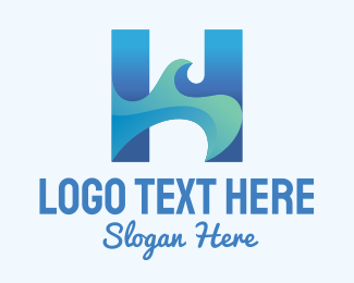 Tsunami - Blue Sea Wave Letter H logo design