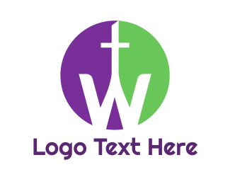 Catholicism - Purple Green Cross W logo design
