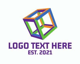 Dice - Neon Cube logo design