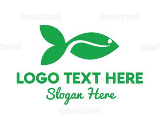 Tuna - Green Fish Leaf logo design