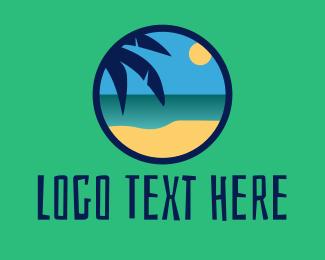 Tropical - Tropical Coastal Beach logo design