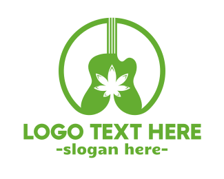 Weed & Guitar Music Logo