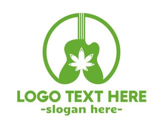 Weed - Weed & Guitar Music logo design