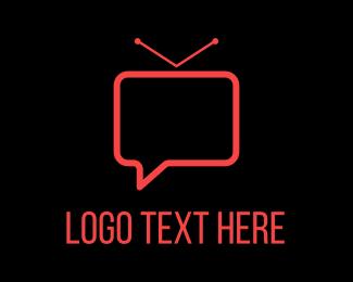 Tv - Vlog Chat logo design