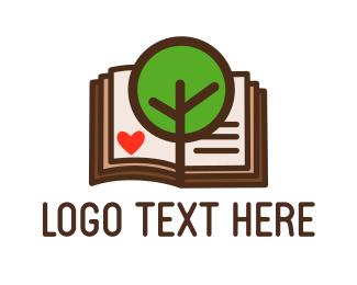 Bible Study - Tree & Book logo design