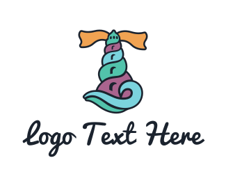 Seashell - Shell Lighthouse logo design