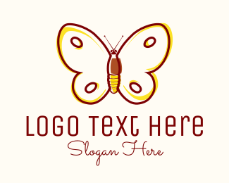 Pink Insect - Eco Friendly Butterfly logo design