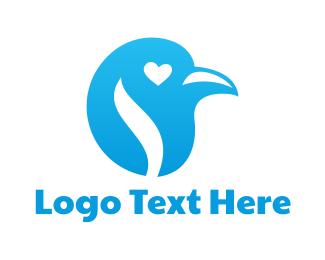 Sparrow - Blue Heart Bird logo design