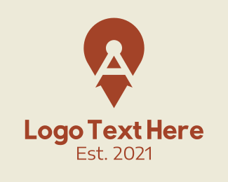 A - Red Location Pin Letter A logo design