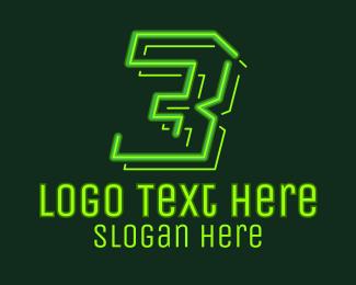 Tetris - Neon Retro Gaming Number 3 logo design