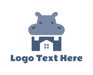Hippo - Blue Hippo House logo design