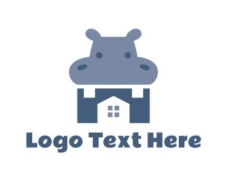 Blue Hippo House Logo